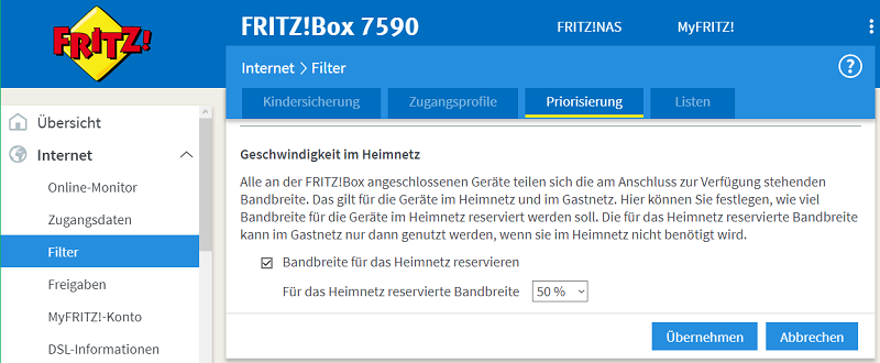 Bild: Screenshot Fritz!Box Bandbreitenkontrolle
