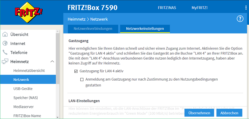 Bild: Screenshot Fritz!Box Gast-LAN
