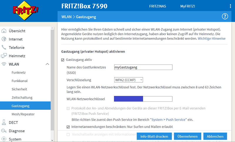 Bild: Screenshot Fritz!Box Gast-WLAN