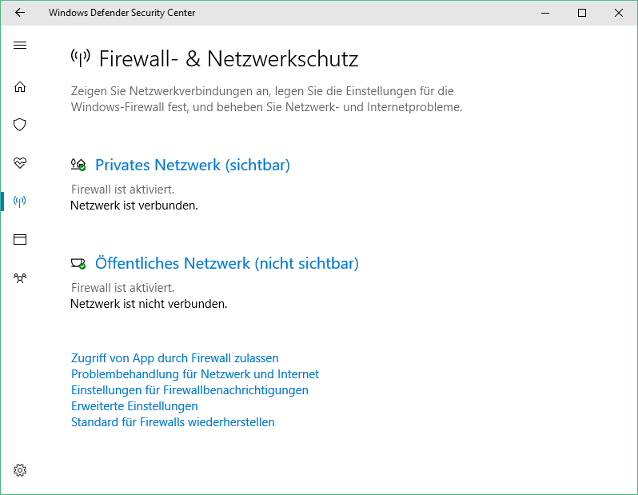 Bild: Windows Defender Security Center (Version 1703, Creators Update)