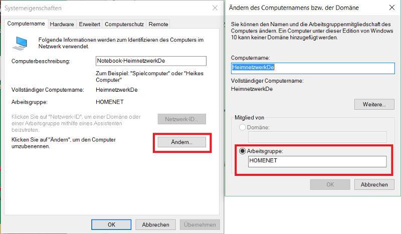 Windows 10 Arbeitsgruppe Einrichten Dasheimnetzwerkde